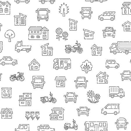 seamless pattern of house and car and bike and plant - broken line -