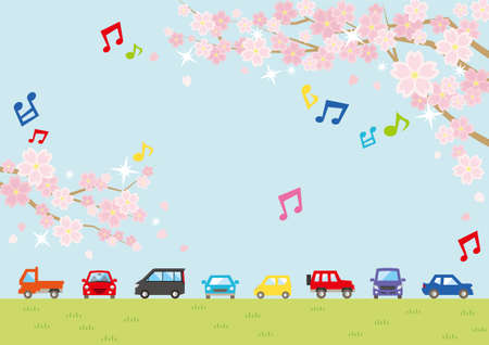 Illustration of the vernal scenery with the cherry blossoms - row of car and sky and grassy plain - for horizontal writing of landscape format