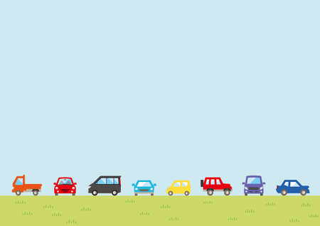 Illustration of the vernal scenery - row of car and sky and grassy plain - for horizontal writing of landscape format