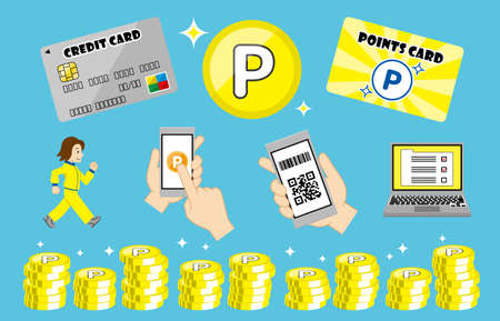 image of trying to rewards points. earn points concept.Loyalty and bonus program. Vector illustration.