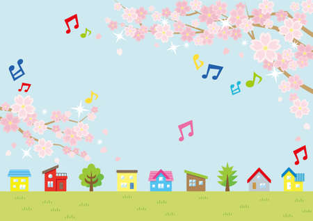 Illustration of the vernal scenery with the cherry blossoms plus musical note - row of houses and sky and grassy plain - for horizontal writing of landscape format