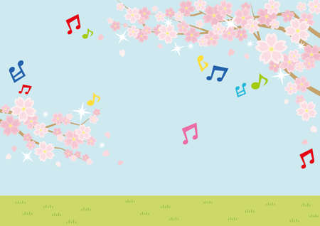 Illustration of the vernal scenery with the cherry blossoms plus musical note - sky and grassy plain - for horizontal writing of landscape format