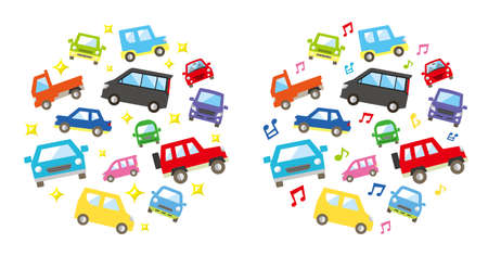 round icon gallery of various car - color medium size version - twinkle and musical note. vector illustration.