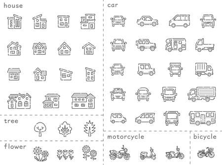 icon set of house and car and bike and plant - only line of broken line,line is Stroke - Classification version