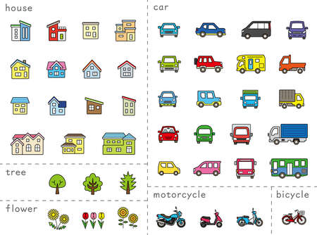 icon set of house and car and bike and plant - line drawing plus color,line is Stroke - Classification version Vettoriali