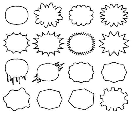 set of comic speech bubbles without a tail - small label for writing horizontally - hand writing style line drawing,vector illustration