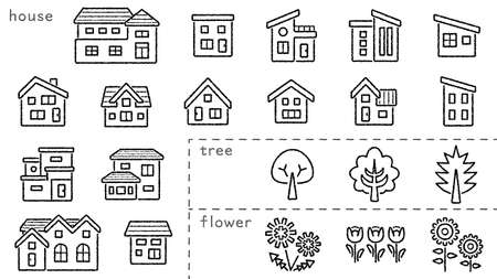 icon set of house and tree and flower - only hand writing style line drawing - Classification version