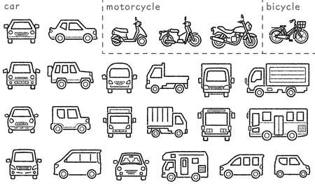 icon set of car and bike and bicycle - only hand writing style line drawing - Classification version