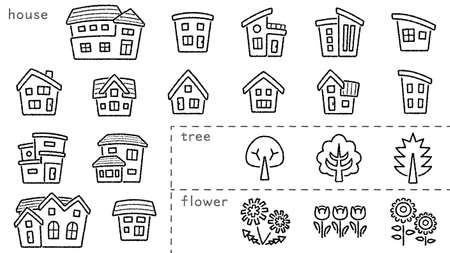 icon set of house and tree and flower - only hand writing style line drawing - arc upper and classification version