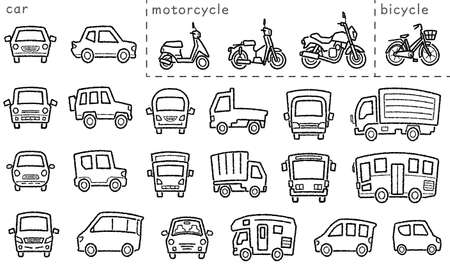 icon set of car and bike and bicycle - only hand writing style line drawing - arc upper and classification version