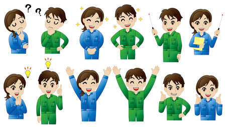 Motion set of man and woman in workwear coveralls Ilustracja