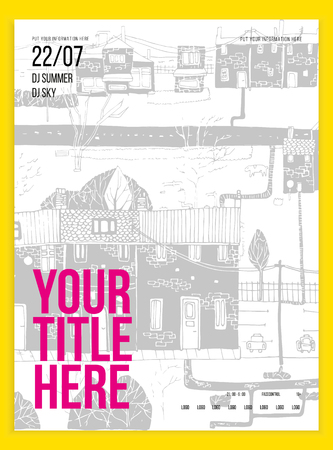 event: Poster or flyer template for your party or event. Minimalism. Vector image. doodle Illustration