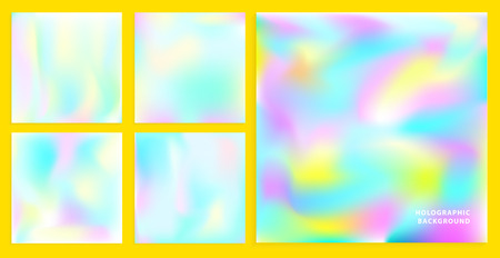 80 s: Set of holographic backgrounds. vector