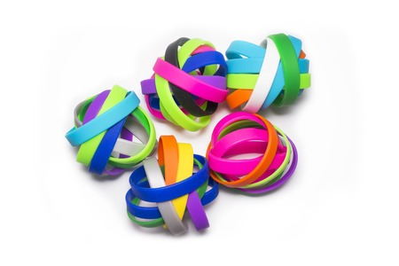 Rainbow Colors, Silicone Elastic Rubber Bands. Colorful elastic wristbands.