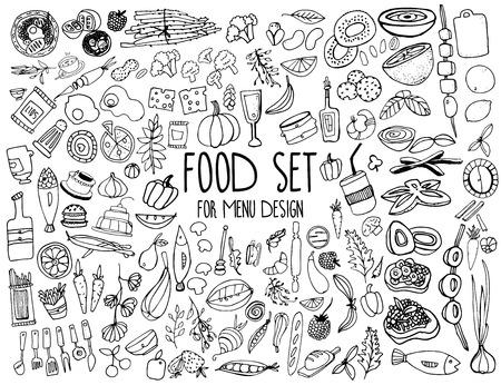 手描きの食品要素。メニューの装飾を設定します。  イラスト・ベクター素材