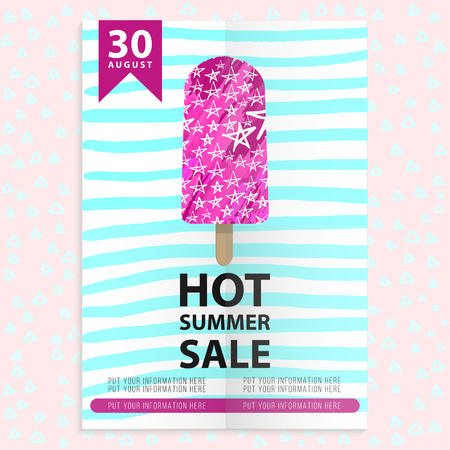 hot summer sale flyer with ice cream and stripes. Template banner
