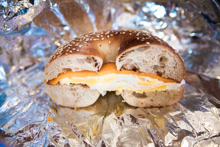 Cheese and egg bagel