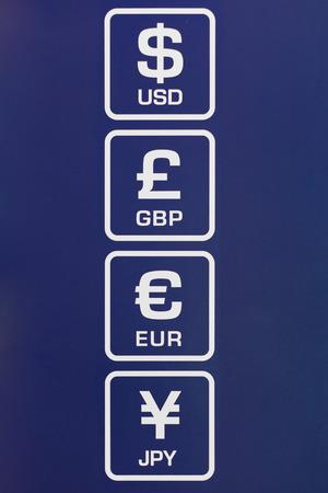 cashpoint: Symbols of Dollar, Euro, Pound and Yen