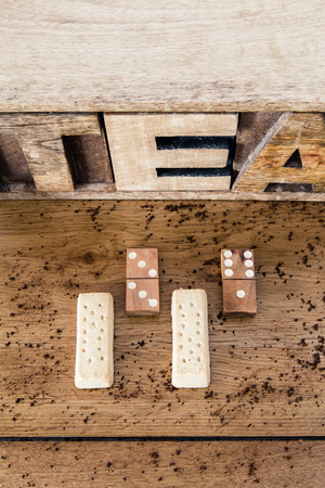 shortbread: Shortbread in front of a wooden lettering