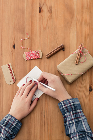 crafting: Woman crafting for Christmas Stock Photo