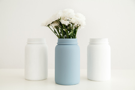 Jars painted with chalk paint