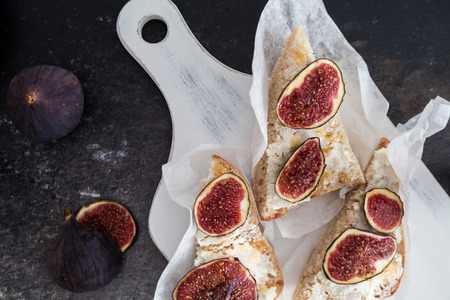 goat cheese: Ciabatta bread with goat cheese and figs