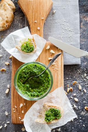 Wild garlic pesto on ciabatta brwad Stock Photo