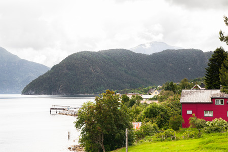 House by the fjord, Norway 写真素材