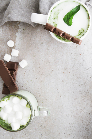 Hot chocolate with matcha and marshmallows