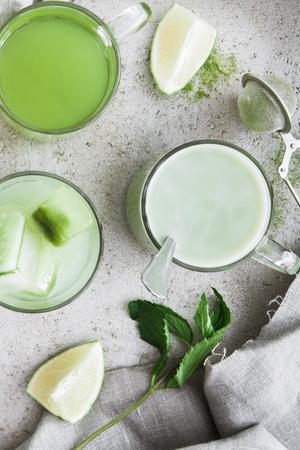 Organic matcha beverages Standard-Bild - 106621295