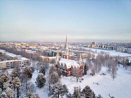 Aerial view of Joensuu  Evangelical Lutheran Church. Finland