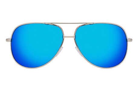 Silver sunglasses with blue lenses isolated on white background