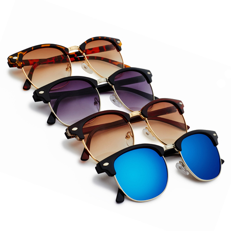 4 classic sunglasses with brown and blue lenses on white background