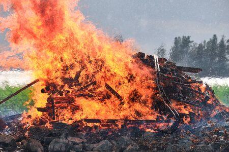 Midsummer bonfire. Traditional Finnish celebration Juhannus