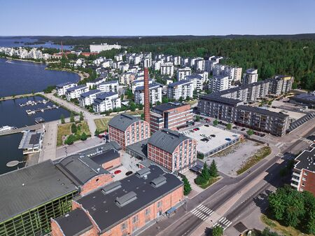 Aerial view of Sibelius Hall in Lahti, Finland. On the background new district. The old factory was rebuilt into housing.
