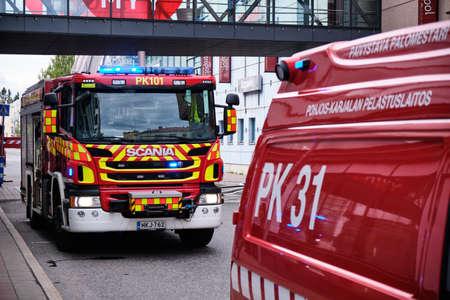 Joensuu, Finland - 8 September 2019: The fire engines near the shopping mall. 報道画像