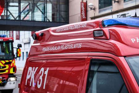 Joensuu, Finland - 8 September 2019: Fire cars, near the shopping mall.