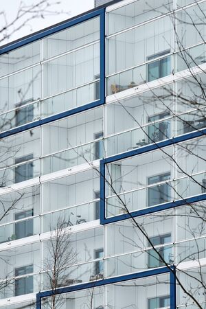 The facade of a brand new apartment building in Finland.