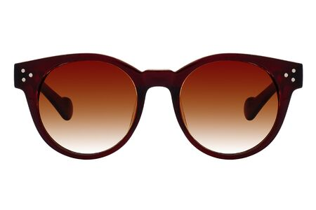 Brown sunglasses with brown gradient lens isolated on white background