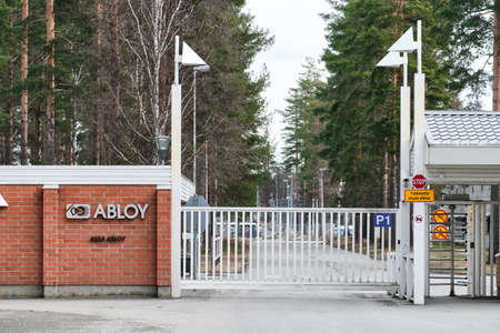 Joensuu, Finland - March 3, 2020: ABLOY factory entrance. ASSA ABLOY is a Finnish conglomerate that manufactures and markets access solutions.