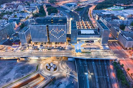 Aerial view of the brand new railway station and shopping mall in Pasila district, Helsinki, Finland.