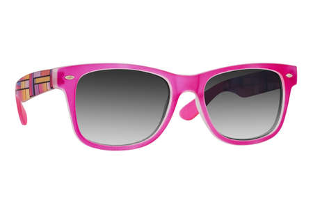 Sunglasses with a pink plastic frame and black lenses isolated on white background.