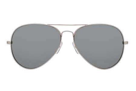 Sunglasses with a silver frame and mirror lens isolated on white background.