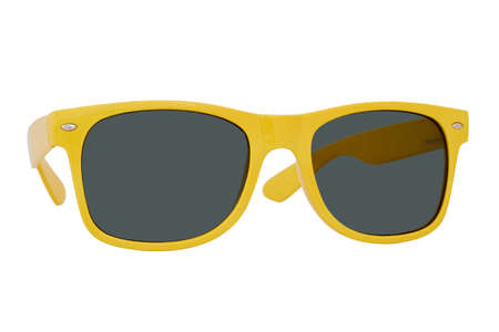 Sunglasses with a yellow plastic frame and black lenses isolated on white background.