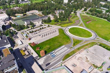 Aerial view of Tapiola district of Espoo, Finland. View of Tapiolanympyra and the bus station.
