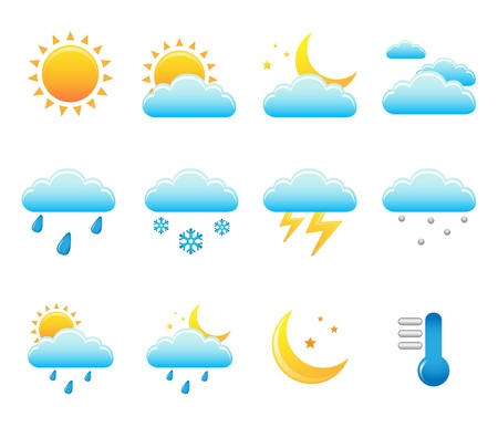 cloudy weather: vector weather set
