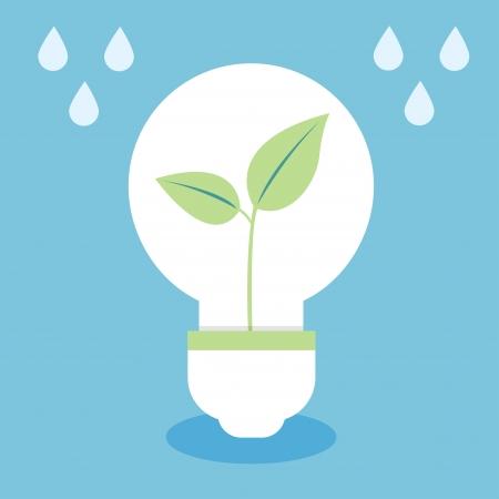 green light bulb: ecology concept