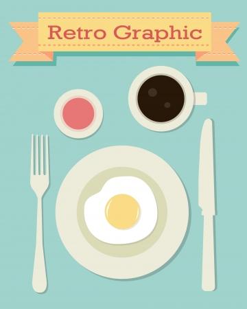 retro breakfast Vector