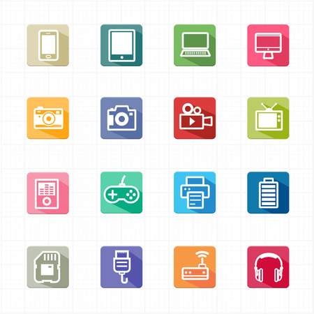 Flat Icons electronic devices and white background  Vector