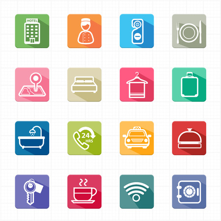 Flat icons hotel travel and white background  Vector